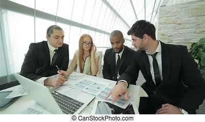 Business partners meeting with clients - Smiling businessman...