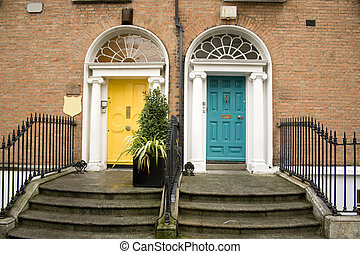 Vintage dublin doors in turquoise and yellow - two vintage...