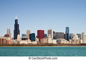 Chicago Skyline - seen from Lake Michigan - Chicago Skyline...