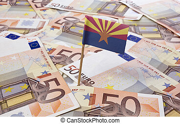 Flag of Arizona sticking in 50 Euro banknotes.(series) -...