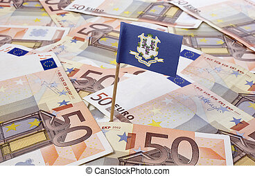 Flag of Connecticut sticking in 50 Euro banknotes.(series)