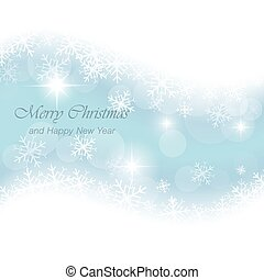 Glowing blue vector Christmas card with snowflakes and stars