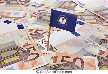 Flag of Kentucky sticking in 50 Euro banknotes.(series)