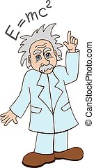 Einstein on a white background - cute cartoon illustration...