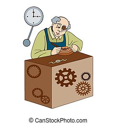 watchmaker on a white background - watchmaker makes the...