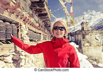 ruota, donna,  Nepal, escursionista, preghiera, Felice