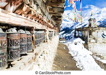 villaggio,  Nepal, alto, preghiera,  himalaya, ruote, montagne