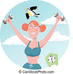 Morning bird - Smiling woman doing working out, a lark...