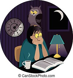 Night owl - A woman with an owl on her head reading a book...