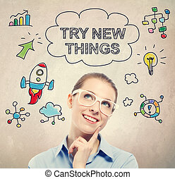Try New Things concept with young business woman wearing...