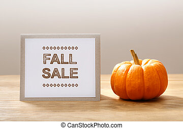 Fall Sale message with a small pumpkin