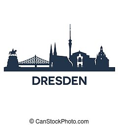 Dresden City Skyline - Abstract skyline of city Dresden,...