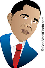 President Barack Obama - Vector Illustration of President...