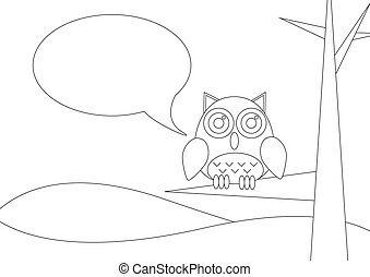 Coloring book -  Owl siting on a tree with speech bubble