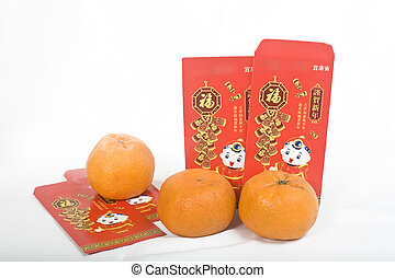 Mandarin oranges and Chinese New Year Red Packet