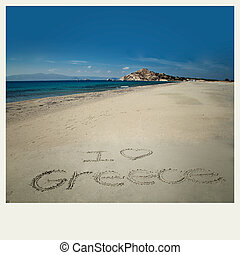 I love greece drawing in sand - I love greece sign write in...