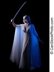 女孩,  elven, 年輕, 劍, 被隔离