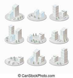 Houses - Infographics with isometric houses and urban...
