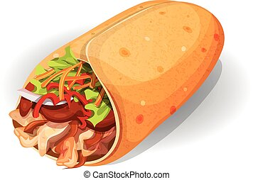 Mexican Burrito Icon - Illustration of an appetizing cartoon...