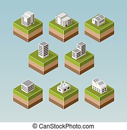 Isometric houses - Set Isometric houses with elements of the...