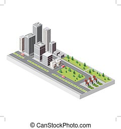 City center - Vector isometric city center on the map with...