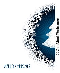 Christmas greeting with half bursting christmastree - White...