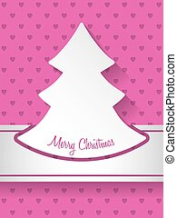 Christmas greeting with christmastree and hearts background...