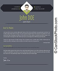 Cool dark cover letter resume cv template - Cool dark modern...