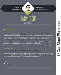 Cool dark cover letter resume cv template - Cool dark modern...