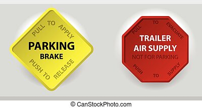 Truck parking brake knob and trailer air supply knob - Push...