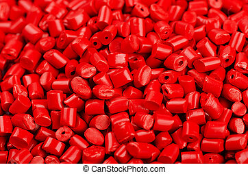 Red plastic grains