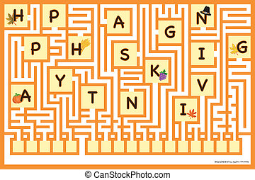 maze - Game for children: maze Solution: happy thanksgiving