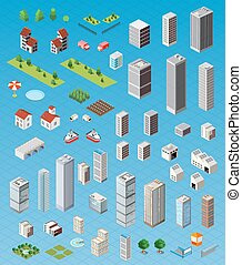 Isometric city set - Isometric city map road, trees and...