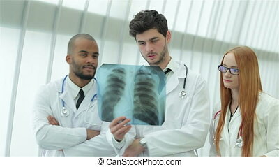 Healthy lungs and the dangers of smoking. Three confident...
