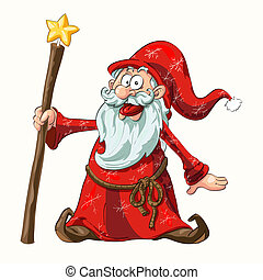 Santa - Cartoon vector illustration of Santa Claus in red