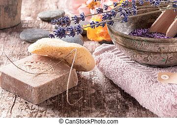 Conceptual oriental bath supplements arrangement -...