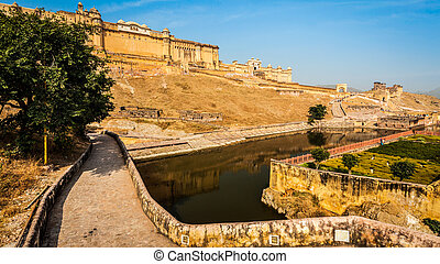 Amer aka Amber fort, Rajasthan, India - Panorama of famous...