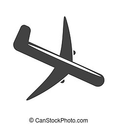 Icon aircraft is landing on a light background