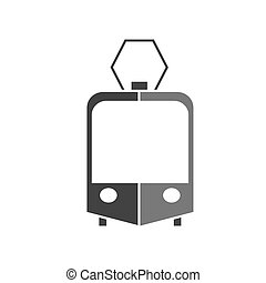Vector silhouette icon of a tram