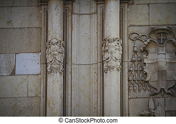 Columns, Spanish town of Alcala de Henares, palaces and...