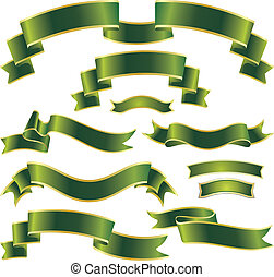 set of green ribbons