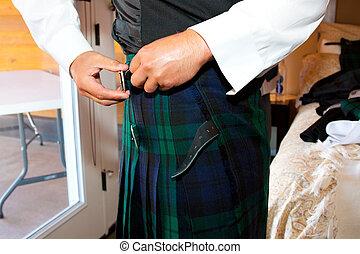escocés, traje, Falda escocesa, boda