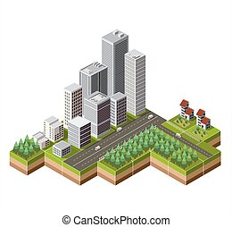 Isometric city center - Vector isometric city center on the...