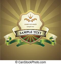 vintage emblem on gold background