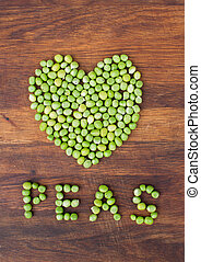 Heart made of green peas - Heart made of fresh locally grown...