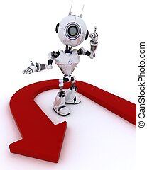 Robot wth u turn arrow