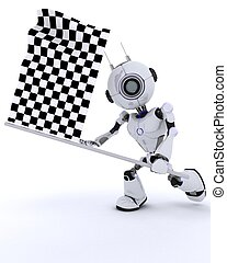 Robot with chequered flag - 3D Render of a Robot with...
