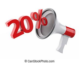 3d Megaphone with percent discounts.