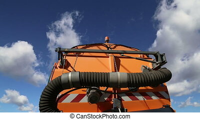 street cleaning truck - Close-up of a street cleaning truck...