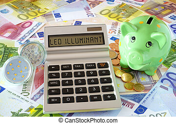 Save electricity with LED lamps - Pocket calculator with the...